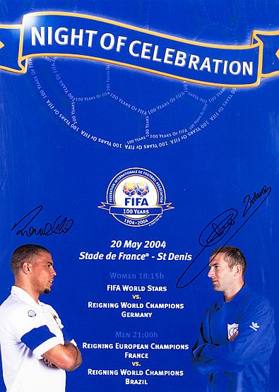 A FIFA 1904-2004 centenary match poster double-signed by Zinedine Zida