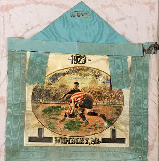 A masonic apron for the Wembley Lodge dated 1923 and with football dec