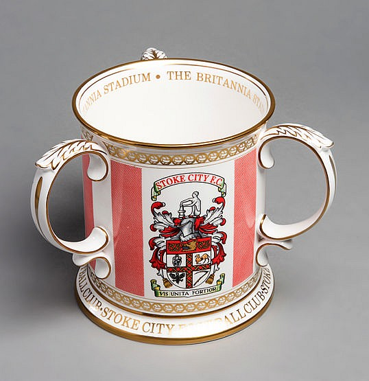 A privately commissioned Spode bone china tyg commemorating Stoke City