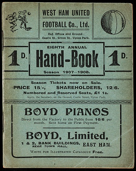 West Ham United Handbook season 1907-08,  the eighth club published an