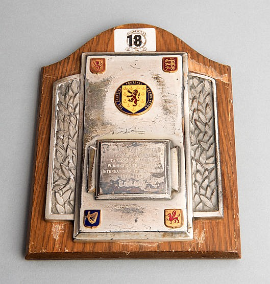 Eric Caldow British International Championship winner's trophy plaque
