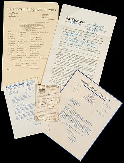 Roy Vernon ephemera,  i to iv) four Blackburn Rovers playing contracts