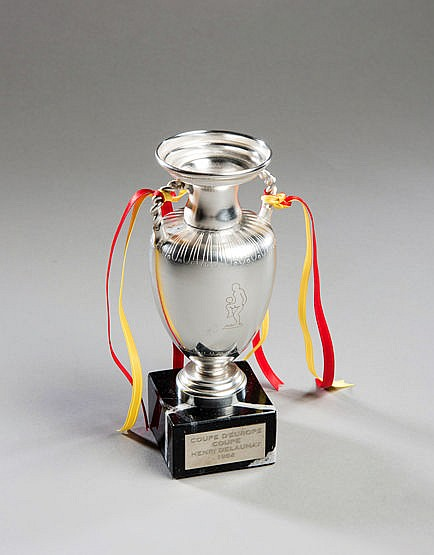 A miniature replica of the European Nations Cup trophy commemorating t