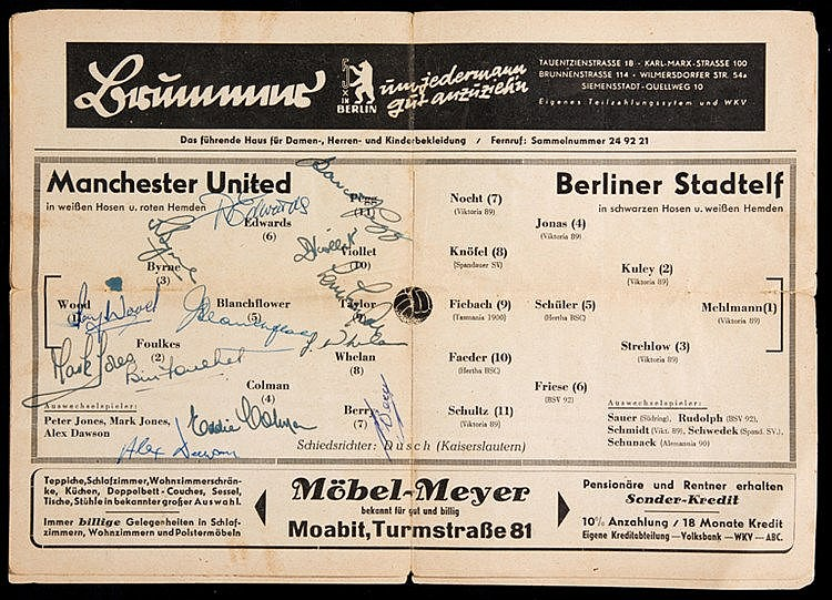 Busby Babes signed programme for the Manchester United match v Berlin