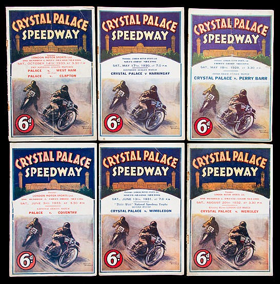 Six early Crystal Palace speedway programmes, v Perry Barr 18.5.1929,