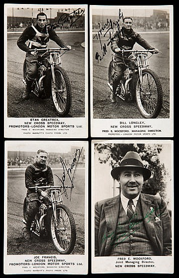 A group of 12 signed New Cross speedway postcards circa 1937,  compris