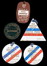A group of four badges relating to the Grand Prix D'Europe at Silverst