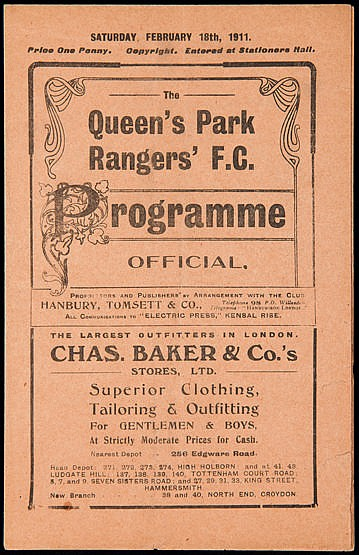 Queen's Park Rangers v Portsmouth programme 18th February 1911, South