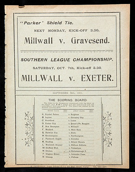 Millwall v New Brompton (Gillingham) Southern League programme 30th Se