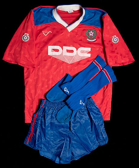 A full Aldershot playing kit season 1991-92,  by Ribero with DDC spons