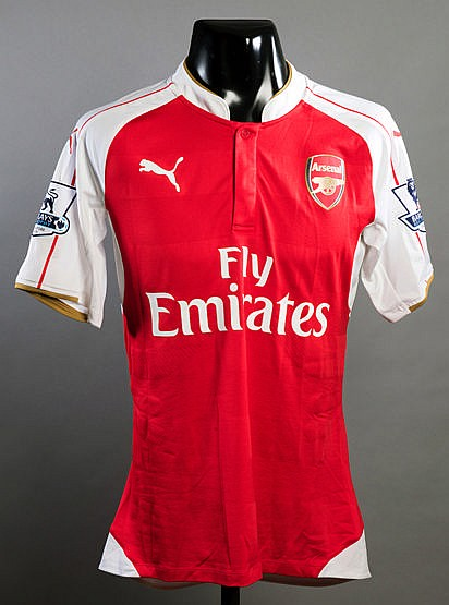 Callum Chambers red & white Arsenal No.21 jersey from the 2015 Barclay