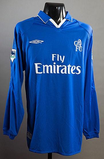 Emmanuel Petit blue Chelsea No.17 jersey circa 2003-04,  long-sleeved,