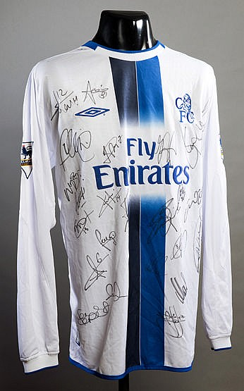 Team-signed Mario Melchiot white Chelsea No.15 away jersey circa 2004,