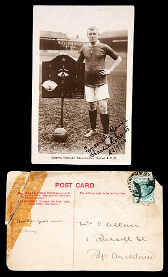 A signed portrait postcard of the Manchester United captain Charlie Ro