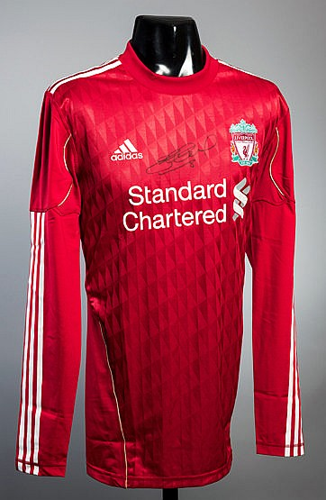 A Steven Gerrard signed Liverpool jersey,  player-spec long-sleeve jer