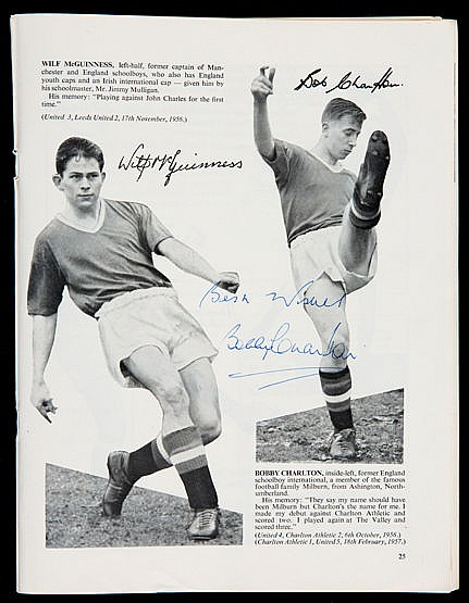 Bobby Charlton  & Matt Busby signed 1957 Manchester United Red Devils