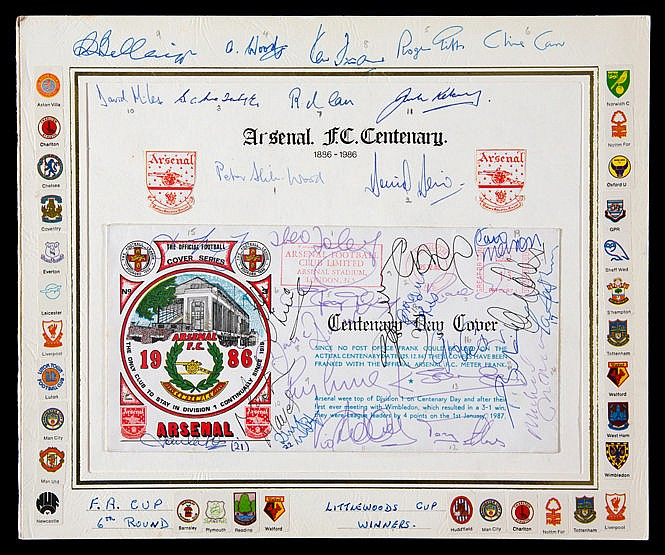 Autographed Arsenal FC Centenary postal cover 1886-1986,  laid down on