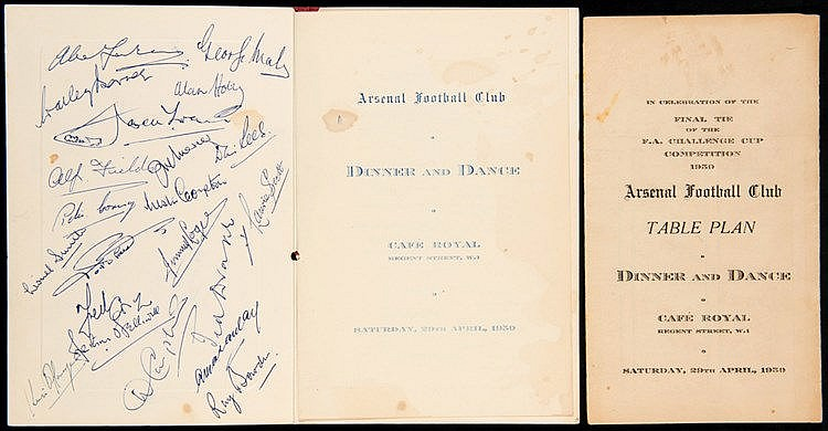 Signed Arsenal 1950 F.A. Cup final celebration dinner menu,  21 ink si