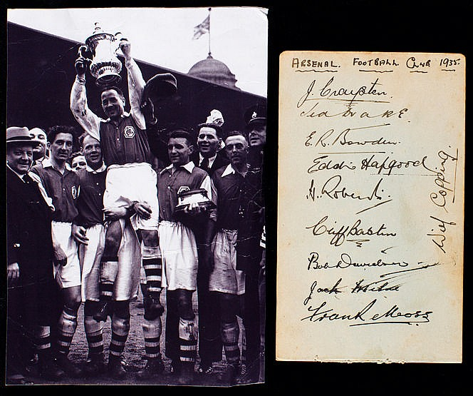 An album page signed by the Arsenal team in 1935, signatures in ink,
