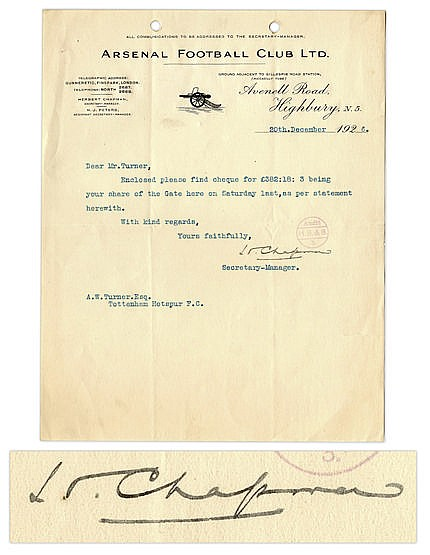 Herbert Chapman signed letter on Arsenal headed paper, dated 20th Dec