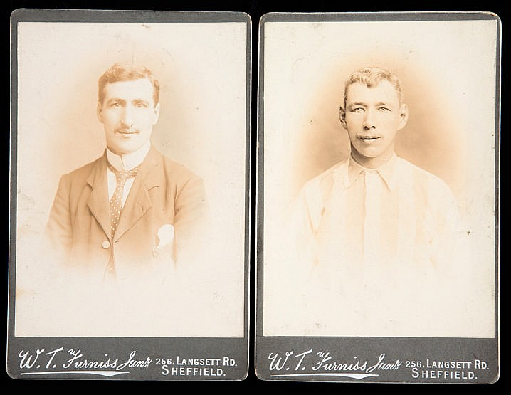 Two cabinet cards of the Sheffield Wednesday footballers Jimmy Massey