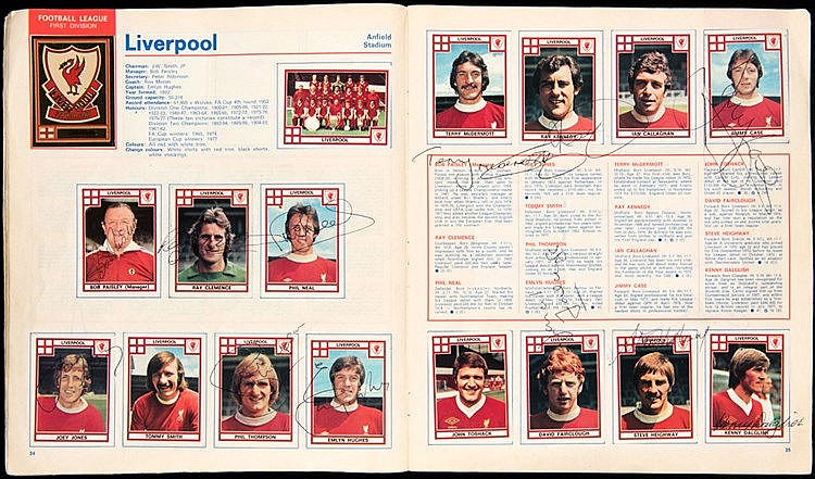 A fully-complete Panini Football '78 sticker album bearing 230 autogra