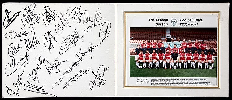 Arsenal 2000-01 signed photo folder,  the interior with an 8 by 10in.