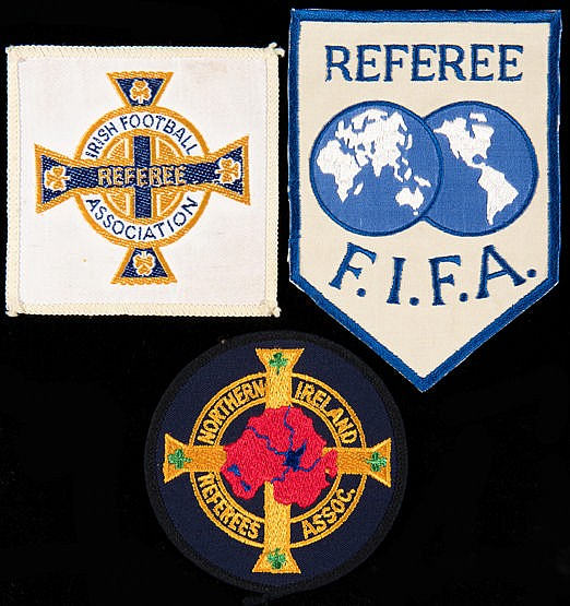 Trio of football referee shirt badges,  F.I.F.A., Irish Football Assoc