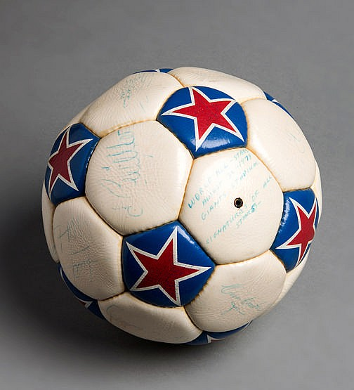 Autographed match ball from the Cosmos v World All Stars UNICEF game p