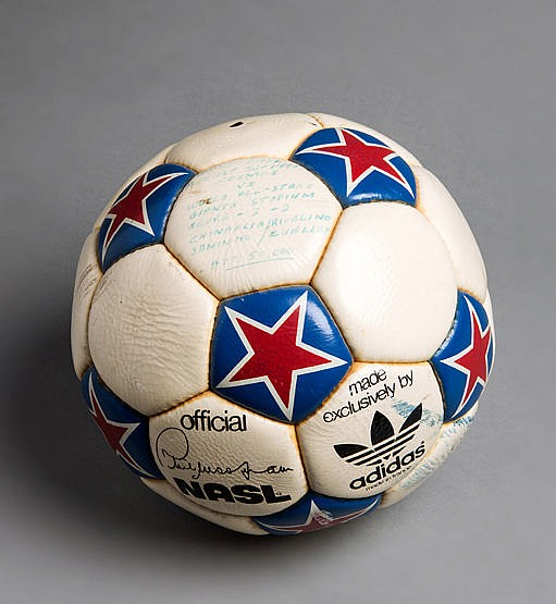 The match ball from the Cosmos v World All Stars UNICEF game played at