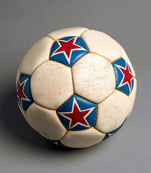 The match ball from the Franz Beckenbauer Day Cosmos v. Seattle Sounde