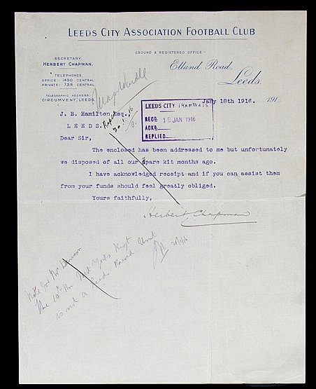 A Leeds City AFC letter signed by club secretary Herbert Chapman and d
