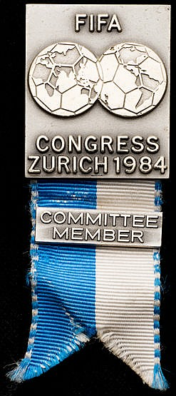 Committee member's badge for 44th FIFA Congress in Zurich in 1984, si