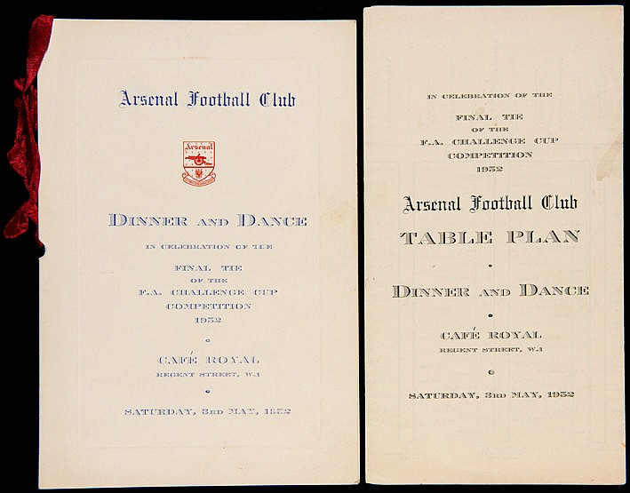 Arsenal FC 1952 F.A. Cup Final celebration dinner menu,  held at the C