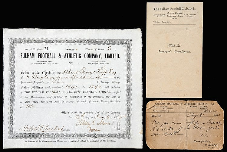 Fulham FC memorabilia,  share certificate for 10 shillings of ordinary