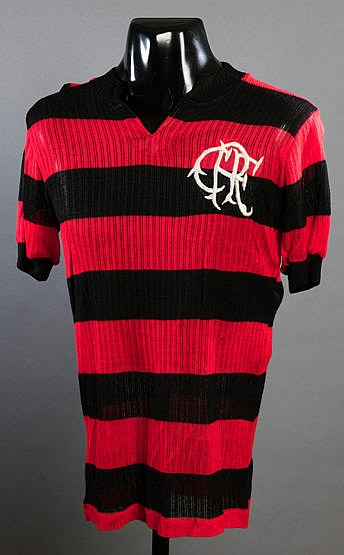 Flamengo red & black hooped No.6 jersey from the match v Cosmos 14th O