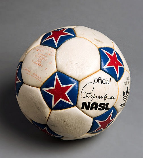 The match ball from the final career game of football legend Pele, the