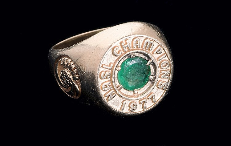 The 1977 NASL Soccer Bowl Championship Ring awarded to the New York Co
