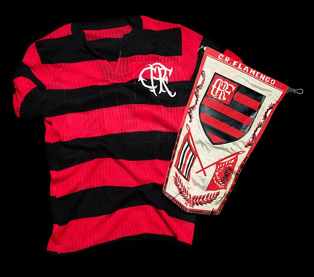 Zico match-worn red & black hooped Flamengo No.10 jersey from the game