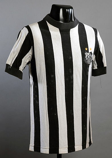 Carlos Roberto Santos black & white striped No.8 jersey worn in the ma