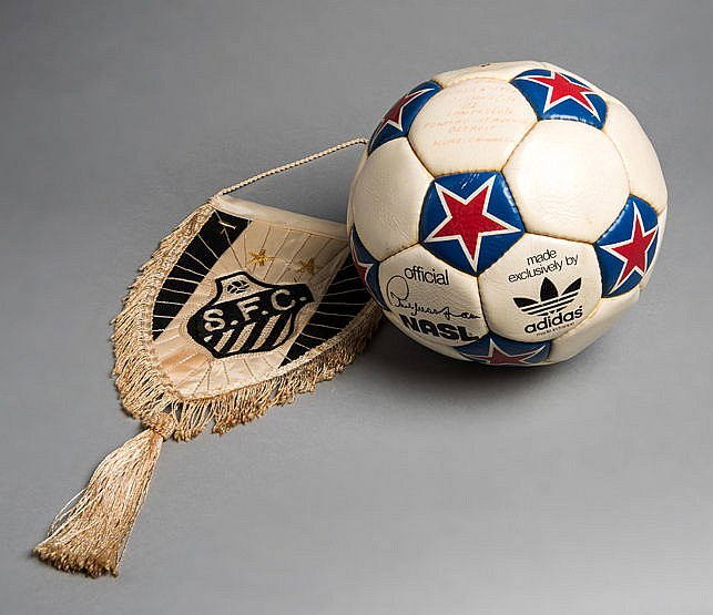The match ball from the Cosmos v Santos game played at the Pontiac Sta