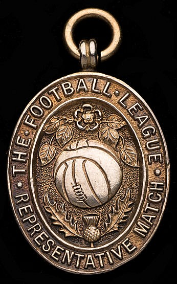 Wilf Mannion Football League representative medal 1947-48, in silver-