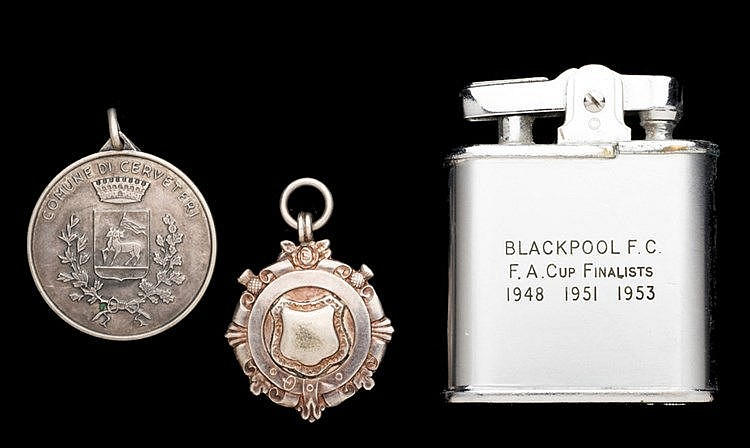 Stan Mortensen medals and presentation, silver medal, hallmarked 1937