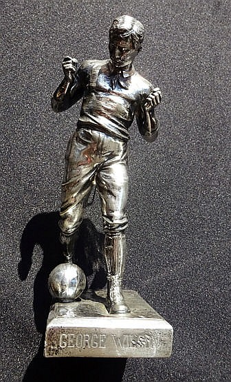 1912 Dutch silver statuette of the footballer George Wilson,  the hall