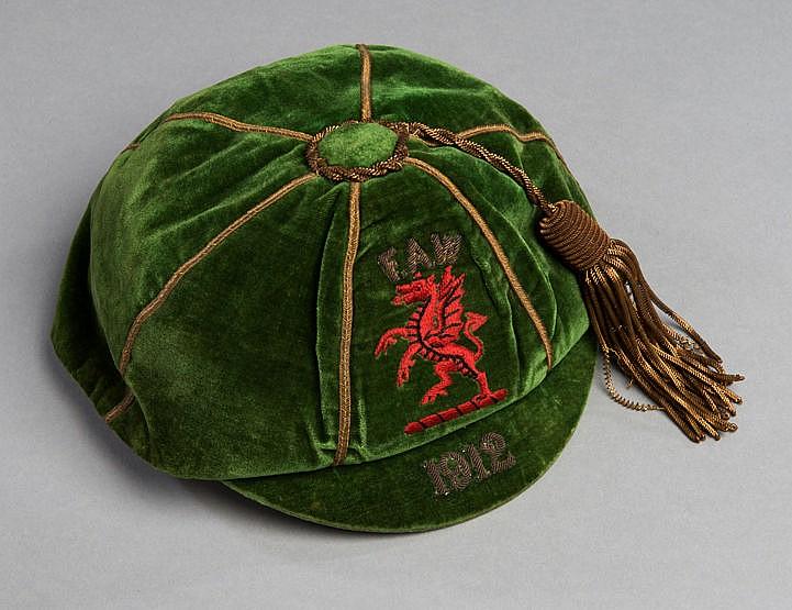 Evan Jones green Wales international football cap 1912,  Red Dragon an