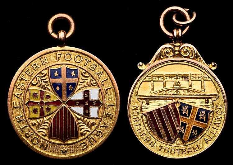 Two 9ct. gold & enamel north-east football medals awarded to an Ashing
