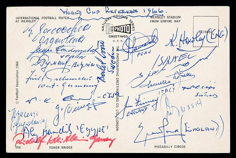 A 1966 World Cup postcard signed by the tournament referees,  the auto
