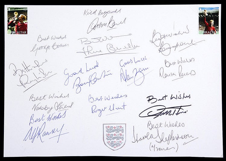 The autographs of Alf Ramsey, Harold Shepherdson and the 11 England 19