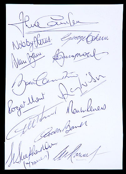 England 1966 World Cup autographs,  a sheet of stiff stock paper signe