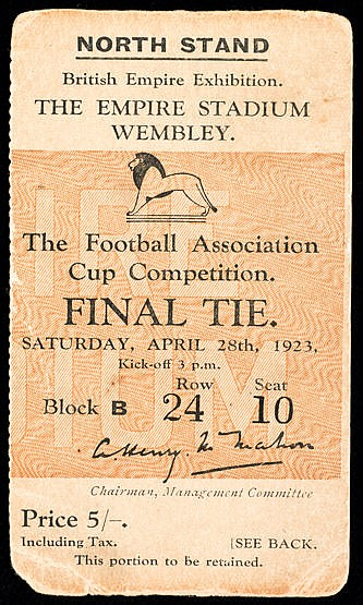 Ticket for the first F.A. Cup Final at Wembley Stadium Bolton Wanderer